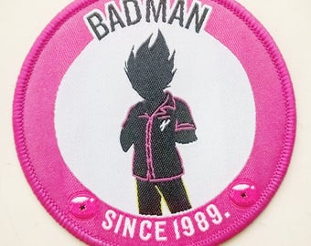 BADMAN Embroidered Patch.       kawaii.   dbz.    dragonball z.     anime.    cool.