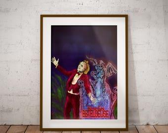 BeetleJuice Dark Gothic Fantasy Pop culture Art Print