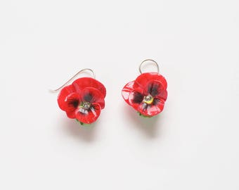 Porcelain Red Pansy drop earring/ Pansy earrings/ dangle earrings/ ceramic flower earrings/ porcelain earrings/ flower earrings/ pansy