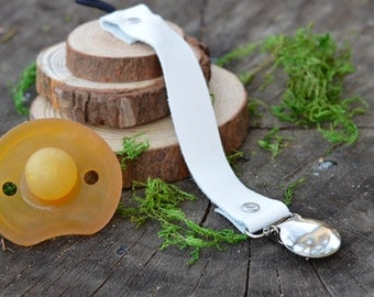 White Leather Pacifier Clip