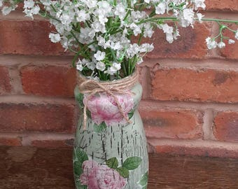 Beautiful 'shabby chic' style vase /decoupage/roses/vintage/gift