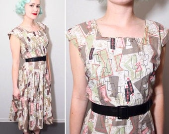 1950s Atomic Print Day Dress | Pink, Green, Grey & Gold Fleck | Full Skirt | Size Large