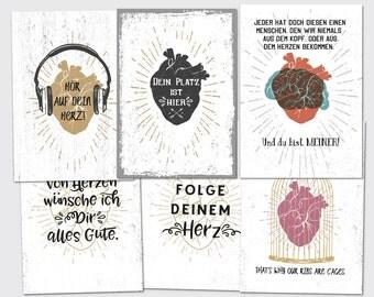 Heart set postcard folding card greeting card
