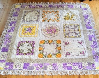 Vintage Hanky Lap Quilt/Upcycled Handmade Quilt/Purple and Yellow Lap Quilt/One of a Kind Quilt/Unique Quilt