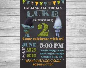 Trolls Invitation - Trolls Boy Birthday Party Invitation - Trolls Birthday Invitation