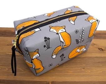 Fox Bag - Make Up Bag - Birthday Gift for Friend - Makeup Pouch - Zipper Pouch - Cosmetic Bag - Makeup Bag