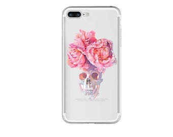 Rose Skull- iphone 6s case, clear iphone 6 case, clear iphone case ,clear - iphone 7s case, clear iphone 7 case, ,clear iphone cases