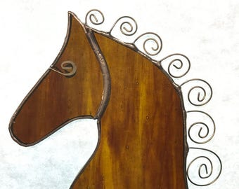 stained glass horse with spiral metal mane