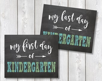 "First Day And Last Day Of Kindergarten Chalkboard Sign 8"" x 10"" DIGITAL DOWNLOAD School Print Set"