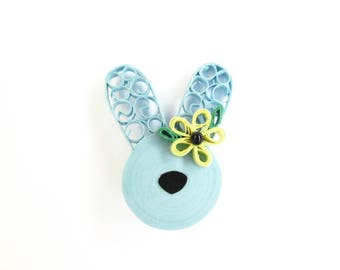 Easter Bunny Brooch, Rabbit Brooch, Blue Rabbit, Pinup Jewellery, Pinup Brooches, Quilled Jewellery, Quilled Brooches, Rockabilly Brooches