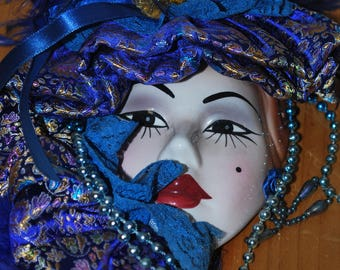 Lovely New Orleans-Style Royal Blue Masquerade Mask!