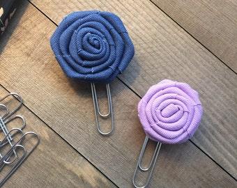 Blue and Lavender Flower Clip Set