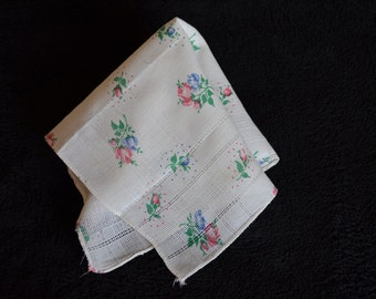 Delicate and Dainty Handkerchief with Blue and Pink Roses