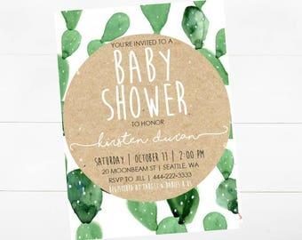 Boho Cactus Baby Shower Invitations -print yourself-Baby Girl, Baby Boy, Baby Shower, Invitations