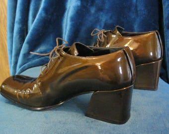 Metallic Bronze Italian Patent Leather OXFORD Chunky Heel Lace-up Shoes - Size 8B - Via Spiga