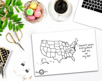 USA Planner Stickers, Map United States of America, United States of America Planner Stickers, Travel Stickers
