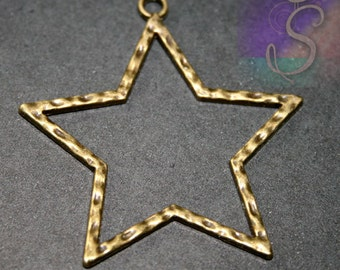 1 - Large Open Star Bronze Bezel Pendant, 43 x 45mm Holiday Star Pendant, SZS1372