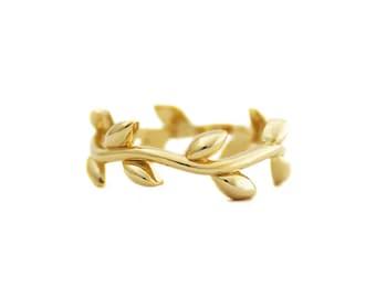 Gold Vermeil Olive Leaf Branch Ring