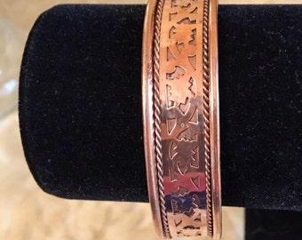 Solid Copper Cuff- Ladies or Man's Decorative Cuff