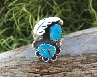Vintage Turquoise Two Stone Stelring Silver Ring | Native American Design  | Blue Turquoise | Bohemian Rings  | Southwest Jewelry  | Indian