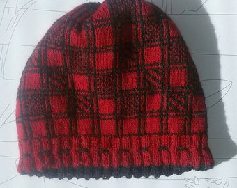 Reversible plaid beanie hat