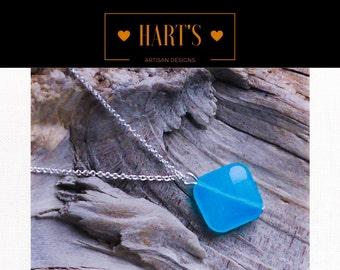 Blue Quartz Argentium Silver Pendant Necklace