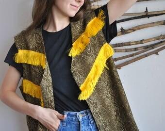 Womens vintage gold colour long vest 1990s 1980s
