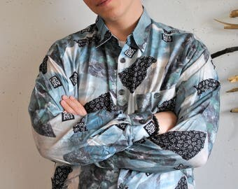 Abstract figures shirt 1990s 1980s vintage mens hipster longsleeve shirt