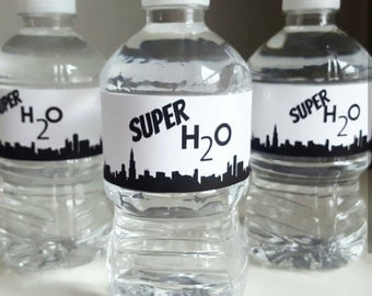 Monochrome superhero water bottle labels