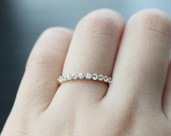 Natural Gemstone Ring!!!Half Eternity White Sapphire Ring 14k Yellow Gold Wedding Band Promise Ring Anniversary Ring Wedding Ring Match Band
