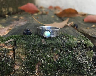 Sterling Moons Ring with Labradorite