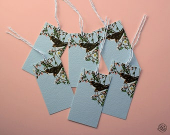 6 Gift Tags with strings - Blue Birds // Label, Card, Birthday, Kitchen, Gift Accessory, Host Gift, Wine Label, Jam Label, Flowers, Baby