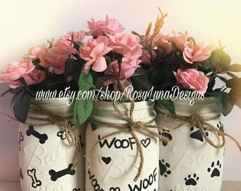 home decor, dog treat container, puppy paw prints, mason jar vases, Mother's Day gift
