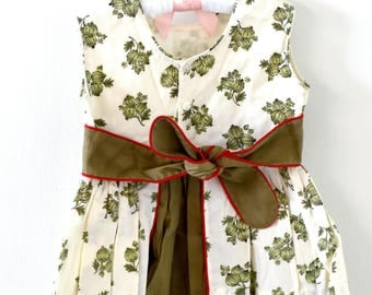 Vintage YOUNGLAND Green White with Red Trim Baby Dress and Hat