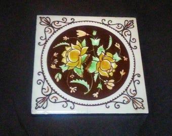 Vintage Ceramic Altar Tile/ Vintage Ceramic Trivet
