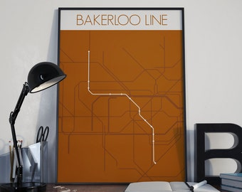 Digital Download - London Underground Bakerloo Line Route Tube Map