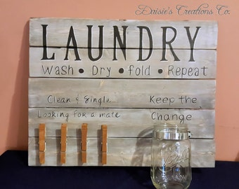 Laundry Room // Wash // Dry // Fold // Repeat // With clothespins and Mason Jar