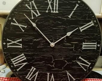 18 Inch Black/Gray Shiplap Look Clock
