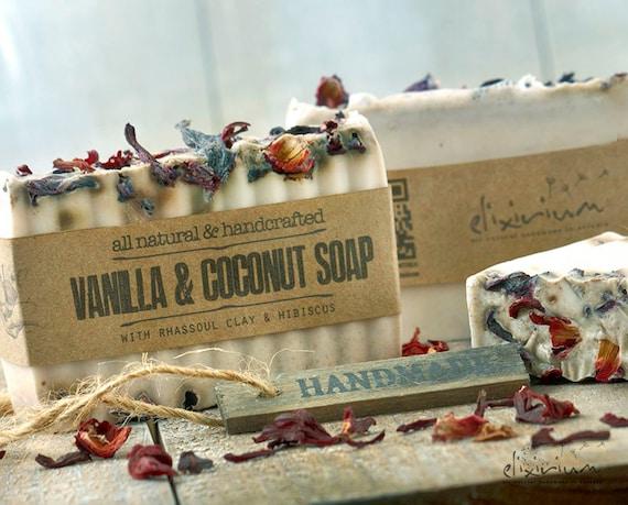 Vanilla Coconut Rhassoul Clay ORGANIC SOAP • Hibiscus flowers, All natural Soap Bar, Organic Soap, Vegan Soap, Handmade Soap, Rustic soap