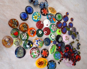 Glass cabachons and beads