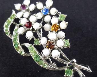 Pretty Vintage White Glass Flower & Colorful Rhinestone Brooch