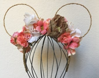Summer Peach Mickey Floral Ears