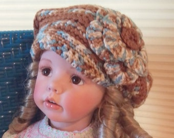 AMELIA hat, charming soft brown slouchy hat, child's hat, girls hat, woman's hat, flower embellishment, blue and white stripes