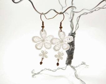 White Flower Venice Lace Earrings with Bronze Glass Beads