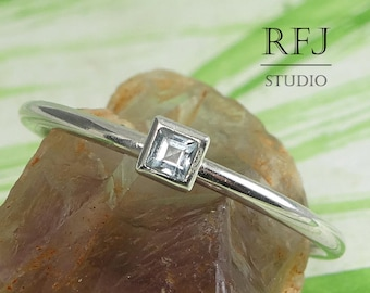 Square Natural Blue Sky Topaz Silver Ring, Princes Cut 2x2 mm Blue Sky Topaz Stacked Classic Rings December Gemstone Jewelry Square Setting