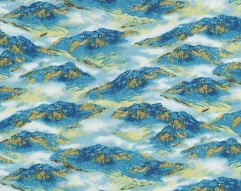 """Mountain Fabric: Whitetail Ridge - Blue Mountains by Quilting Treasures  100% cotton Fabric by the yard 36""""x43"""" (Qt168)"""
