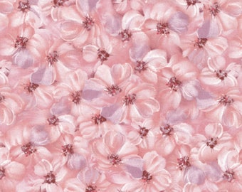 """Floral Fabric:  TULLE & PETALS Floral Petals Pink by Fabri-Quilt Fabric 100% cotton Fabric by the yard 36""""x43"""" (FQ1)"""