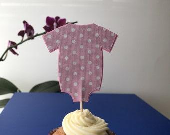 Onesie cupcakes topper, pink onesie birthday party decorations, Onesie,  cake topper, baby shower centerpiece, set of 12.