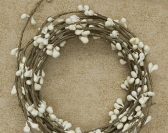 18ft single ply roping , Primitive Pip Berry Garland , IVORY / CREAM , Rustic wedding, Tabletop,