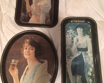 SALE  Set of Three Vintage Coca-Cola Serving Trays